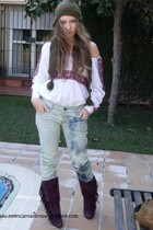 purple Marypaz boots - blue BLANCO jeans - white BLANCO blouse - green hat