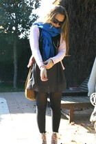black  dress - pink  boots - black  tights - blue  scarf - pink Lefties cardigan