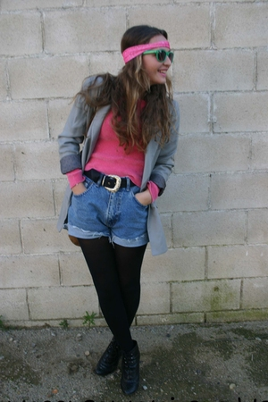 pink sweater - blue pepe shorts - black new look boots - silver BLANCO blazer -