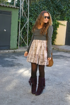 purple Marypaz boots - brown BLANCO dress - gray Bershka sweater