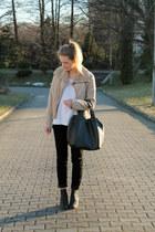 black c&a jeans - tan Second Hand Zara jacket - white F&F sweater