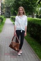 tawny bag - white shoes - dark gray jeans - light blue skirt