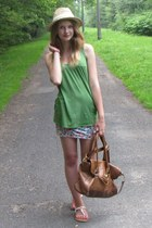 beige hat - brown bag - white sandals - chartreuse t-shirt - skirt