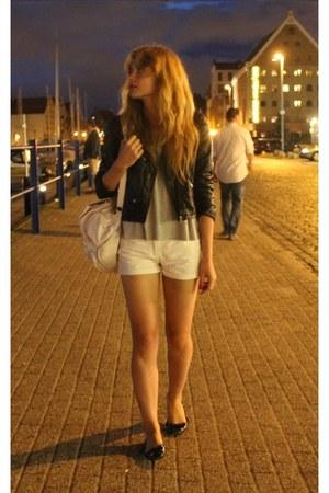 white house bag - black H&M jacket - white Zara shorts
