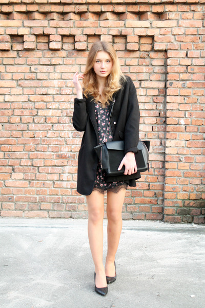 black Stradivarius dress - black Tally Weijl coat - black Zara bag