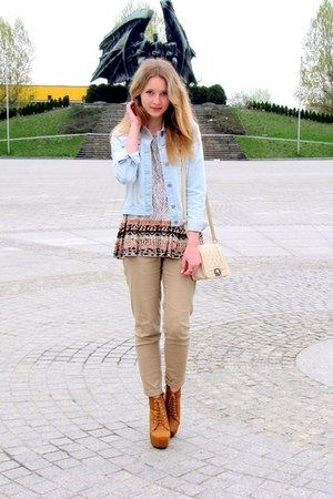 second hand t-shirt - Bershka jacket - Glitter bag - wiat Butw wedges
