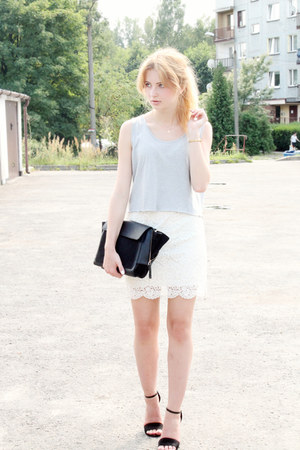 black Zara bag - white H&M skirt - silver DIY top - black Stradivarius heels
