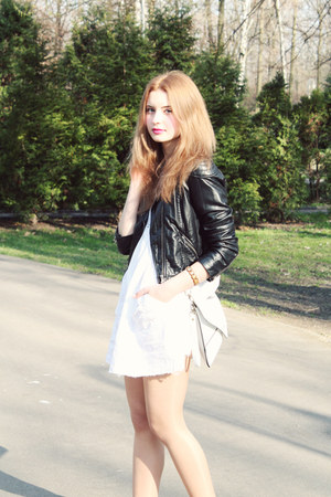 white BonPrix dress - black H&M jacket - white allegro bag