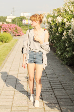 silver second hand sweater - white H&M shoes - sky blue DIY shorts