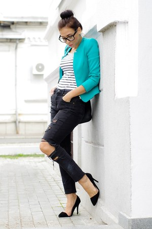 turquoise blue H&M jeans - Zara blazer - black t-shirt