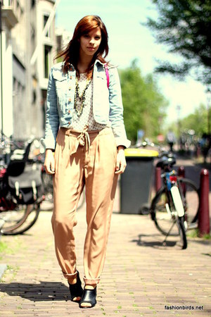 light blue denim H&M jacket - camel harem H&M pants - white polka dots H&M blous
