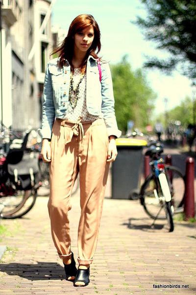light blue denim H&M jacket - camel harem H&M pants - white polka dots H&M blous