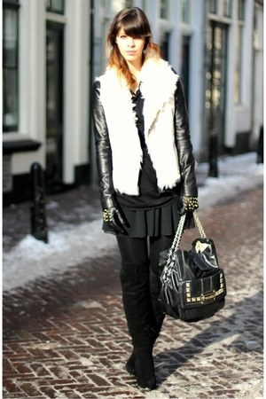 black studded Zara gloves - black suede Zara boots