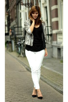 silver sequined Zara jacket - ivory Zara pants - black Zara heels