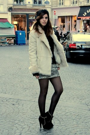 beige fake fur Zara coat - camel Mango skirt - black chiffon Zara top