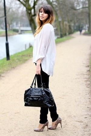 light purple Mango heels - black acne jeans - black longchamp bag