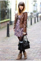 magenta Bershka dress - crimson aviator Zara jacket