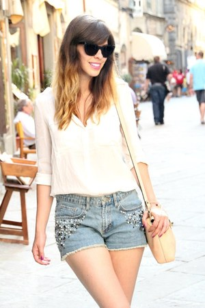 white silk Zara blouse - blue embellished H&M Trend shorts