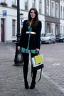 Light-yellow-diane-von-furstenberg-bag-green-guess-dress-black-zara-blazer