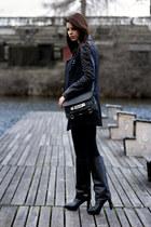 navy Massimo Dutti jacket - black Zara boots - black PROENZA SCHOULER bag