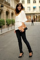 white Massimo Dutti top - camel Celine bag - black Zara heels