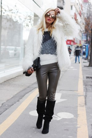 Zara jacket - Zara boots - Stefanel sweater - H&M sunglasses - PNK pants