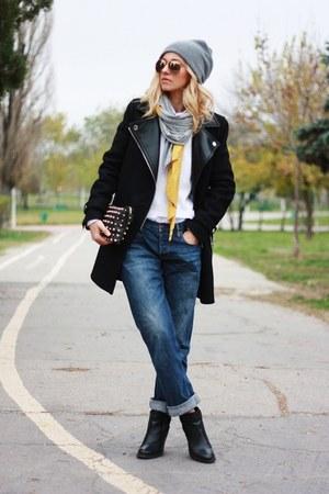 black Topshop boots - black Zara coat - navy allsaints jeans