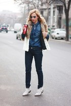 blue Zara shirt - white Zara boots - navy Marc Jacobs jeans - beige H&M jacket