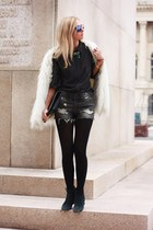 dark gray H&M shirt - black calvin klein boots - off white Zara coat