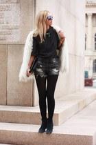 dark gray H&M shirt - black calvin klein boots - off white Zara coat
