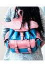 Silver-patterned-vila-jacket-sky-blue-winged-backpack-bag