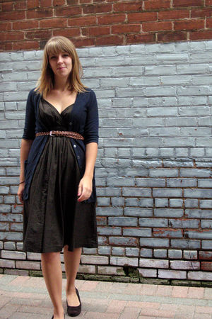 brown unknown brand dress - brown thrifted belt - blue thrifted cardigan - brown