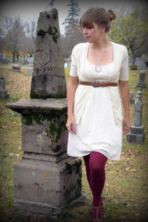 white Charlotte Russe dress - red JC Penneys tights - brown thrifted belt - whit