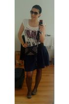 white Bershka t-shirt - blue Zara skirt - black Zara shoes - gray Mango sunglass
