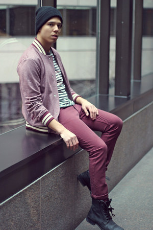 maroon H&M jeans - maroon Urban Outfitters sweater - Ralph Lauren t-shirt