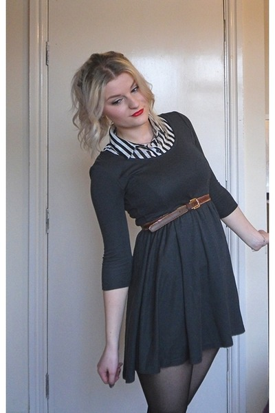 charcoal gray grey skater H&M dress - white striped Forever 21 blouse