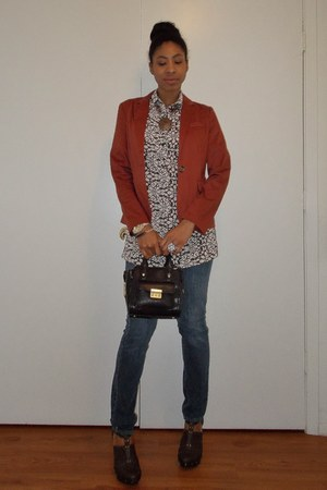 brick red Timing blazer - blue abercrombie and fitch jeans