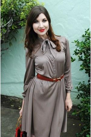 vintage dress - vintage bag