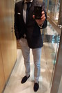 Navy-zara-blazer-light-blue-sacoor-shirt-black-zara-loafers