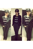 gray sweater - black hat - black jacket - gray Forever 21 pants