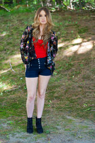 red tube top top - lace-up booties boots - blazer - high waisted shorts