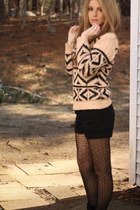geo pattern sweater - boots - diamond pattern tights - trouserbelted shorts
