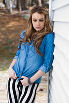 striped leggings - denim chambray shirt