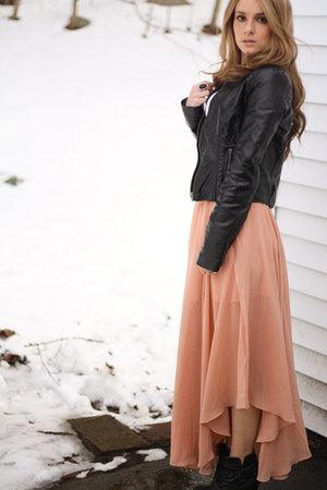 skirt - boots - top - ring - necklace