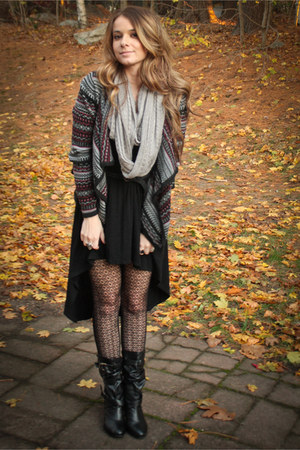 cardigan - boots - hi-low dress dress - tights - scarf