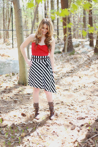 skirt - brown boots - red top - braided belt