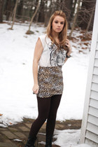 leopard bodycon skirt - boots - brown ribbed leggings - tiger crop top shirt