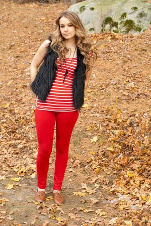 fur vest vest - oxfords shoes - red pants - red striped top - necklace