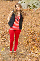 fur vest vest - oxfords shoes - red pants - red striped top - necklace