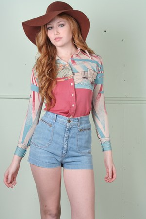 brown sun American Apparel hat - salmon vintage shirt - sky blue vintage shorts